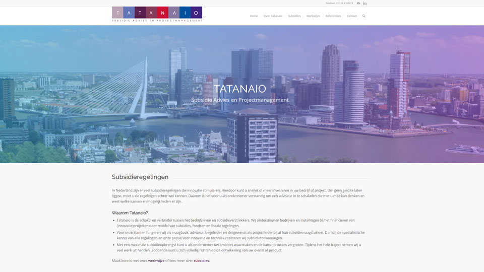 Tatanaio Subsidie Advies en Projectmanagement WordPress Website